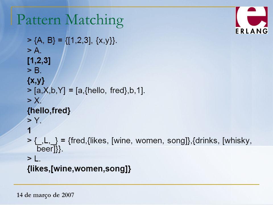 Pattern Matching > {A, B} = {[1,2,3], {x,y}}. > A. [1,2,3]